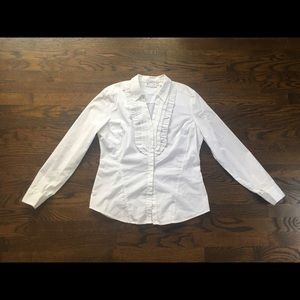 New York & Company White Ruffle Button Down Blouse